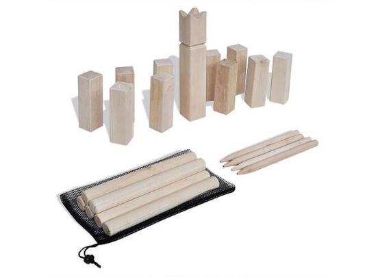 Kubb houten kegelspel in handige opbergzak