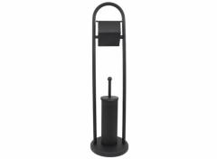 Bath & Shower Toiletrolhouder & Toiletborstel met Houder - Mat Zwart - Ø20x78cm - Toiletbutler