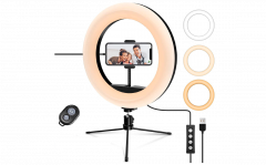 Tripod met 10 Inch verlichtingsring - Met microfoon, tripod en smartphonehouder - Met afstandsbediening