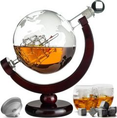 Whiskey Decanteerkaraf - Wereldbol - Luxe Whiskey Karaf Set - 0,8 L - Incl. 8 Whisky Stones & Schenktuit