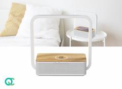 FlinQ Draadloze QI Oplader Tafellamp - Lamp voor Nachtkastje - Bedlamp - Bamboe-look