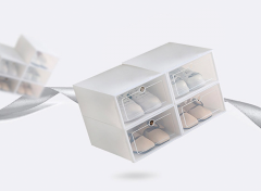 FEDEC Schoenenbox - Organizers - Klepdeksels - Stapelbaar - 33,5 x 25,5 x19cm - Set van 4 - Wit
