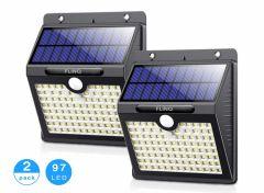 FlinQ Solar Buitenlamp met Bewegingssensor - 97 LEDs - Wit Licht -Tuinverlichting op Zonneenergie - IP65 Waterdicht - Voor Tuin/Wand/Oprit - 2 Stuks