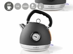 Nedis Waterkoker   1.8 l   Soft-Touch   Grijs   Temperatuurindicator   360 graden draaibaar