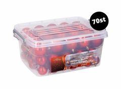 Kerstballen set in box - 70 ballen - Plastic / Kunststof   Rood