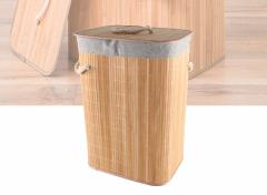 Wasmand Bamboe - Met Deksel en Uitneembare Linnen Waszak