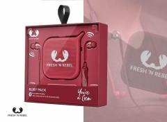 Fresh 'n Rebel - Vibe Wireless in ear Koptelefoon + Pebble Bluetooth Speaker Gift Pack - Rood