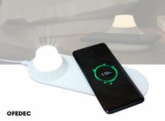 Fedec Nachtlamp met Qi oplader - Draadloze Oplader