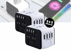 Universele Wereldstekker met 4 USB Poorten - Internationale Reisstekker voor 150+ landen - Wit 1+1 Gratis