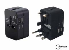 Benson Universele Reisstekker - 2 USB Poorten - Geschikt voor meer dan 150 landen