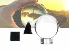 Kristallen Glazen Foto Bol incl. Houder voor Fotografie & Decoratie – 80 MM - Lensball