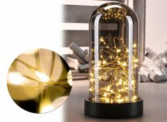 Deko Glass Bell with Mini led copper wire - Sfeervolle kerstverlichting in glazen stolp