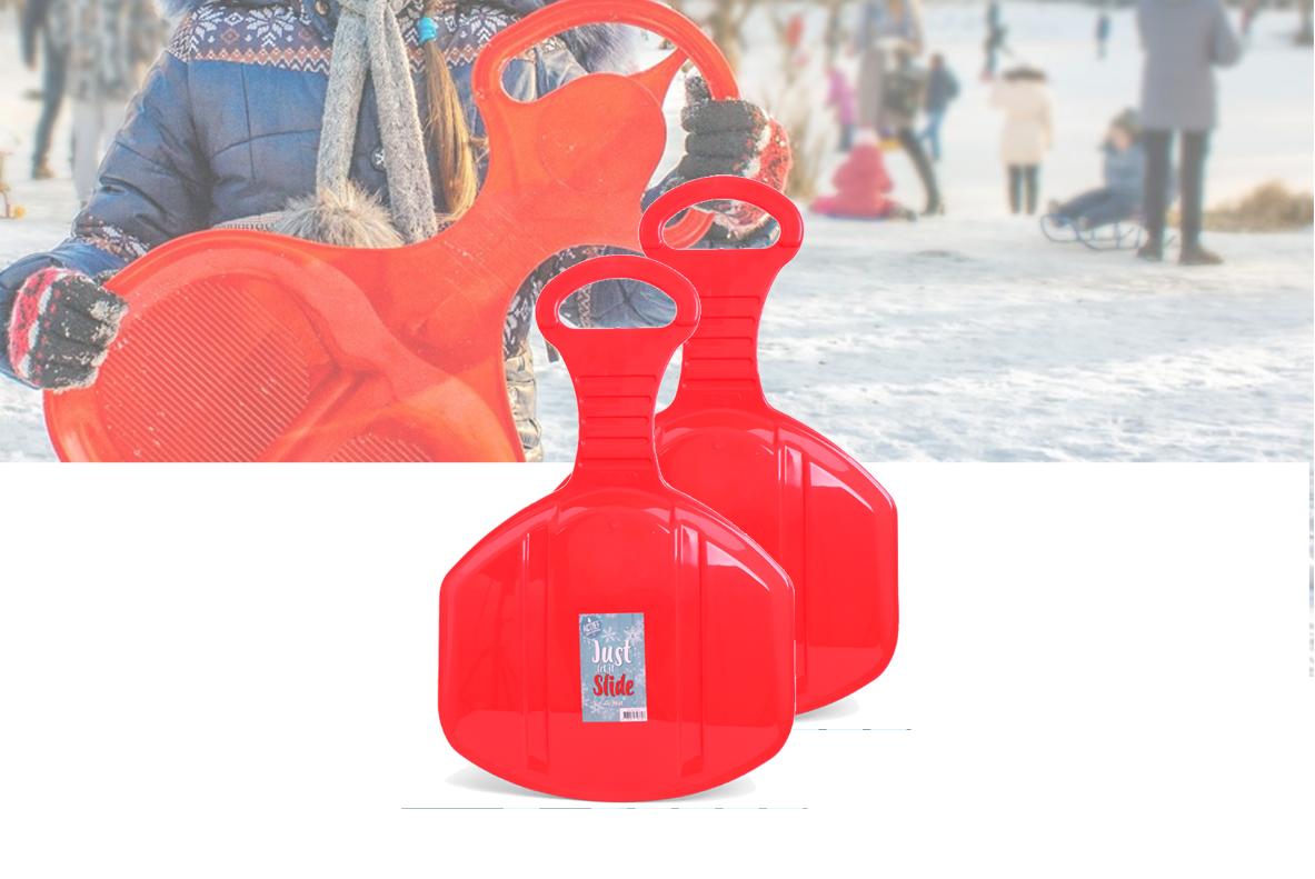 Glijmatje Rood - Voor veel glijplezier in de sneeuw - Slee - 1+1 Gratis