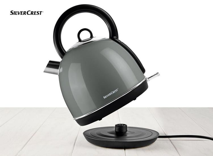 Silvercrest retro waterkoker 1,8L - grijs - Snel gekookt water op de juiste temperatuur hebben,Klein station dat gemakkelijk in elke keuken past,Mooi retro-ontwerp dat past in de moderne tijd,Altijd onder controle en geen kans op oververhitting