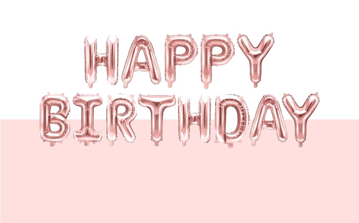 Happy Birthday mega pack - Ros�goude ballonnen