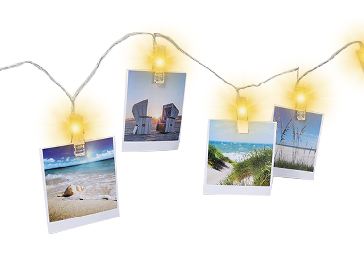 Fotoslinger met 10 lichtgevende clips