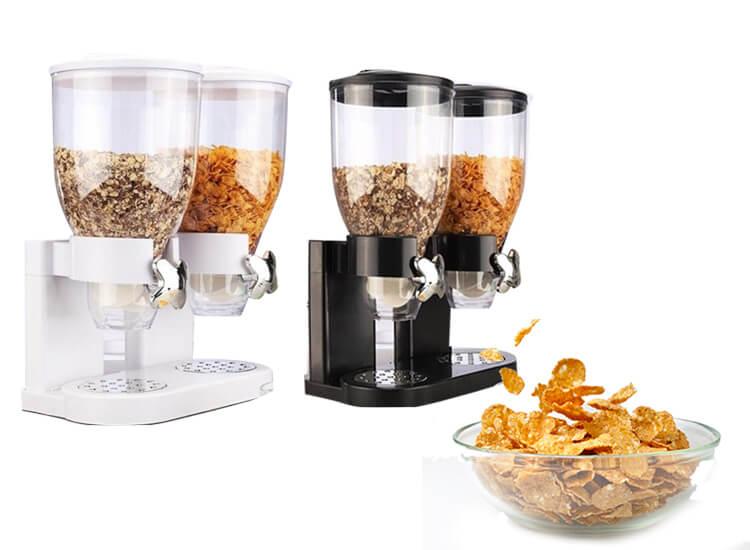 Cornflakes dispenser - 2 bakken van 3,5L - Draaiknop - Luchtdicht