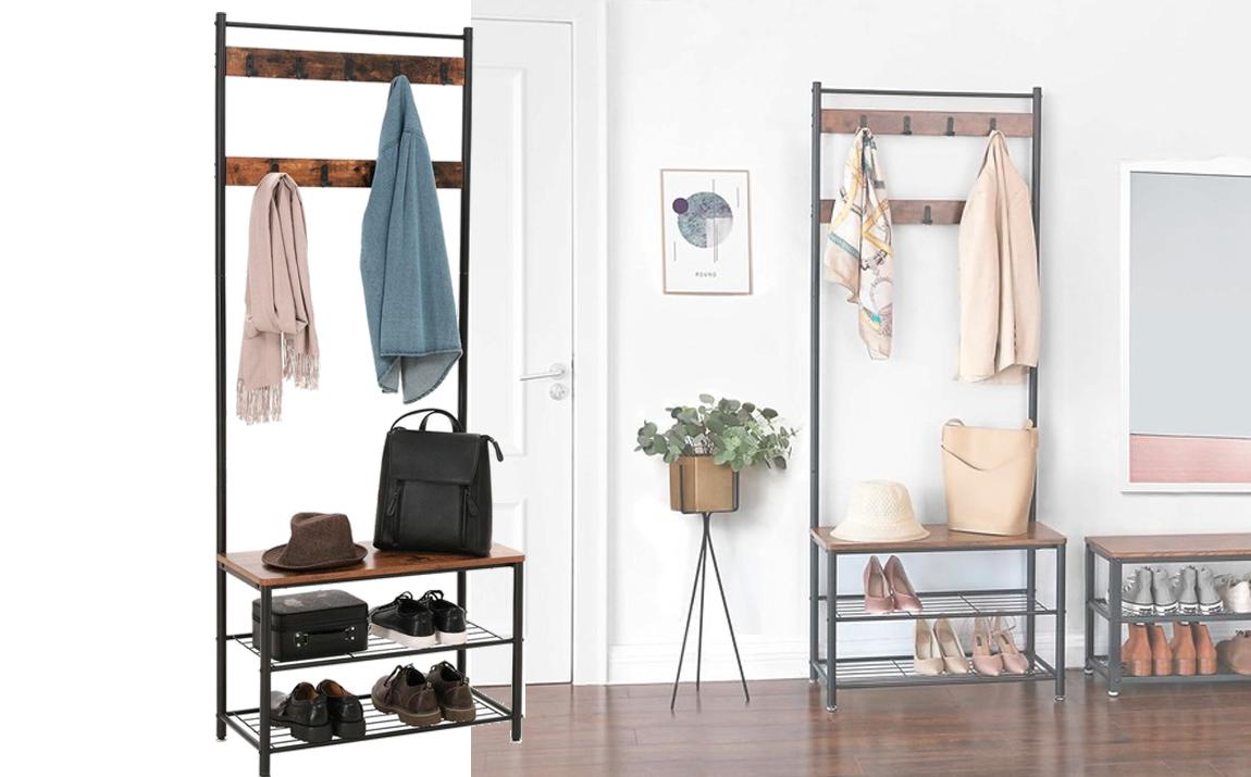 iBella Living - Kapstok - Garderoberek met schoenenrek en bank