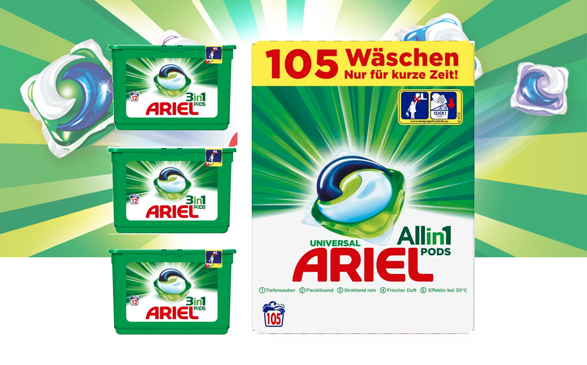 Ariel wasmiddel 3 in 1 pods regular - 105 pods