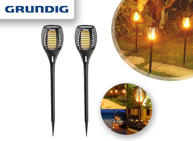 Dagaanbieding - Grundig solar led tuinlampen met vuursimulatie - 2 stuks dagelijkse koopjes