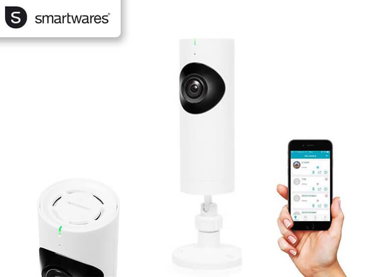 Dagaanbieding - Smartwares wifi bewakingscamera met 180° lens - Altijd weten wat er in je huis gebeurt dagelijkse koopjes