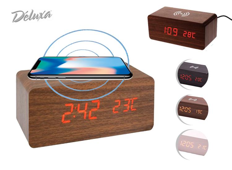 Deluxa wekker met draadloze oplaadfunctie - Qi lader - Voorzien van meervoudige weergave,Inclusief draadloos oplaadsysteem voor smartphones,Voorzien van spraaksturing,Strak en stijlvol model