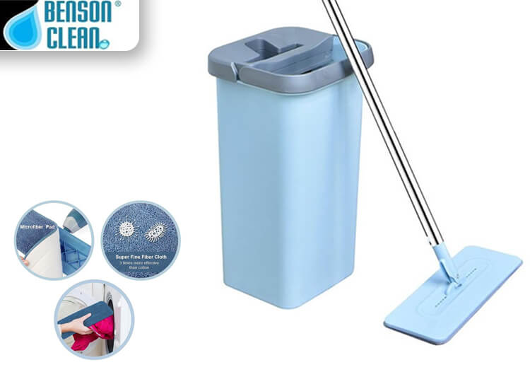 Benson Clean Flat Mop - Met Zelfreinigend Mechanisme