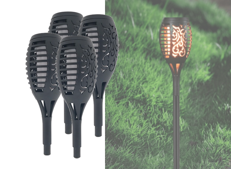 Tuinlamp Solar Fakkel - Vlam Effect - 48,5cm - Set van 4
