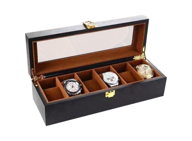 Luxe Houten Horloge Box - Geschikt voor Horloges en Sieraden - 6 Compartimenten met 6 Kussentjes - B