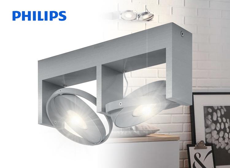 energie A+, Plafondlamp Ledino aluminium 2-lichtbron, Philips Ledino