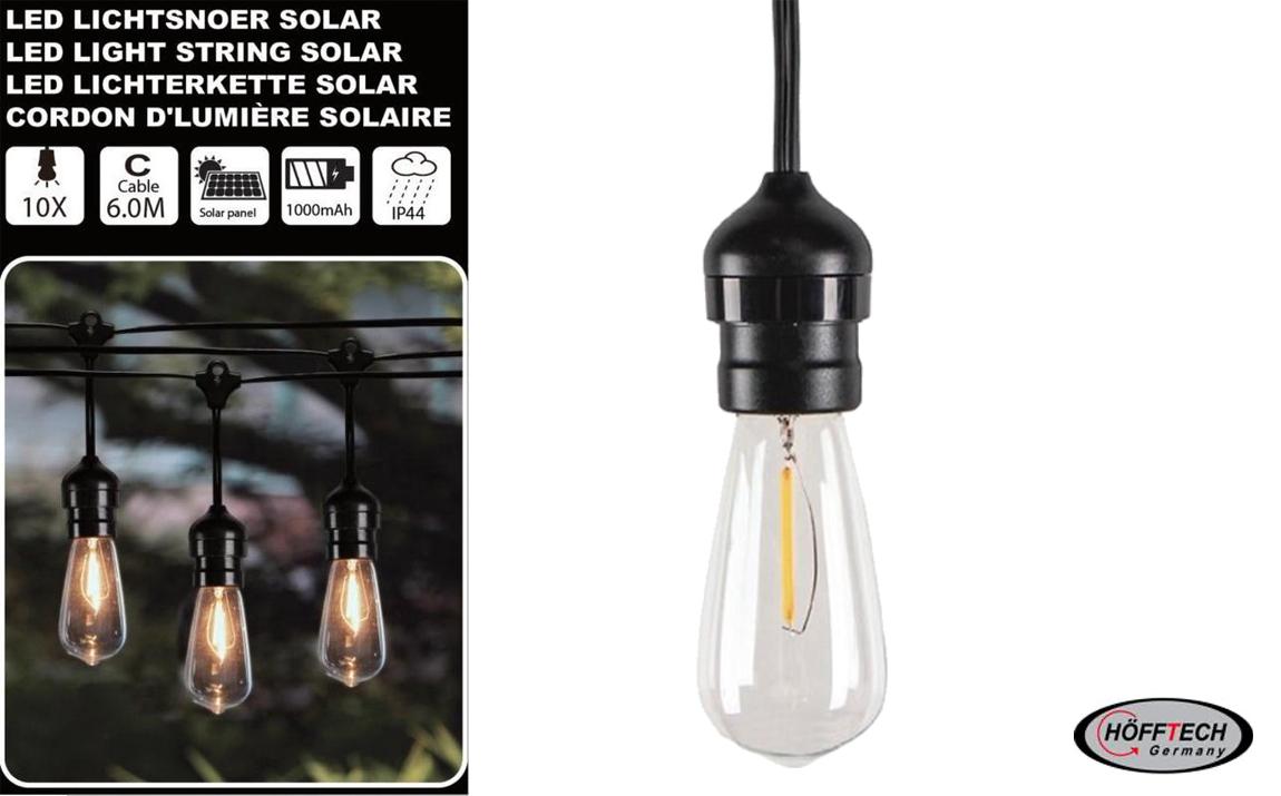 Hofftech Solar LED Lichtsnoer - 10 LED lampen - 6 meter - 1000mAh