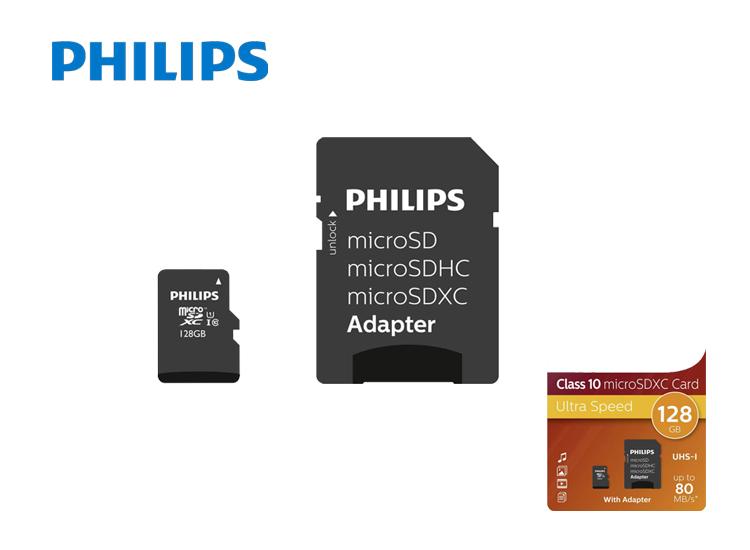 Philips Micro SDXC 128GB UHS-1 U1 met adapter - Zeer geschikt voor HD-video en fotocameras door hoge schrijfselheid,Veel extra opslagruimte (128GB),Inclusief adapter voor o.a. computer