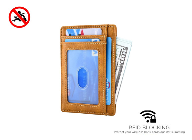 RFID card wallet - Brown