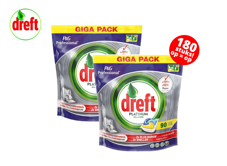 Dreft Platinum All in One Lemon Vaatwastabletten - 180 stuks
