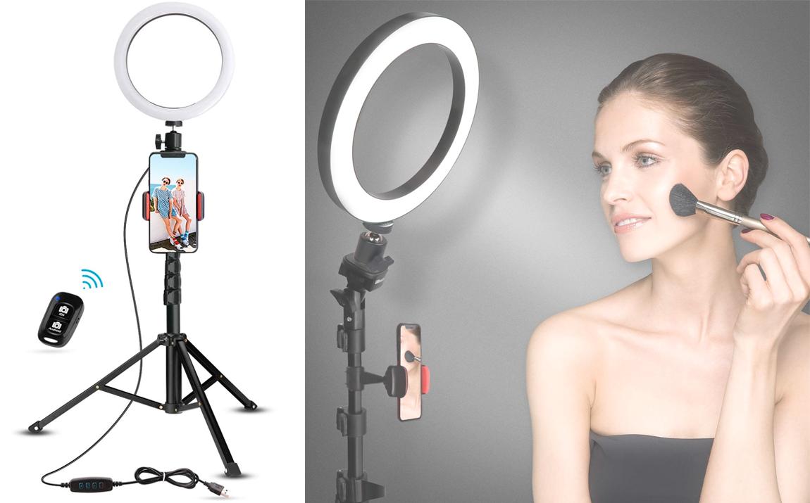 Fedec Smartphone Statief Met LED Ring - Ring Lamp - Universeel - 95 cm - Tripod - Inclusief Afstands