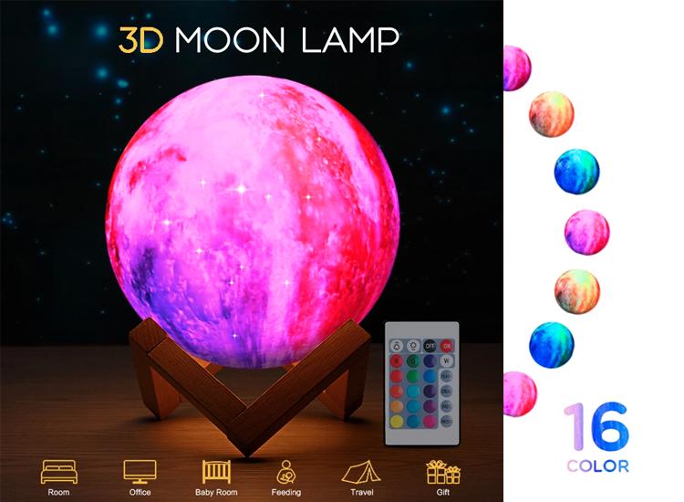 FEDEC 3D Maanlamp - LED - 16 Effecten - Met afstandsbediening - 15 cm