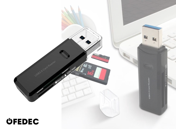 Fedec USB 3.0 Multi Card Reader - Plug & Play - Voor Micro SD - SD - MMC - TF Kaart Lezer - Zwart