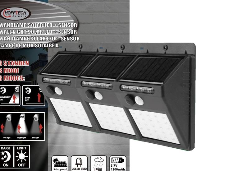Foto Hofftech Solar LED Buitenlampjes met bewegingsmelder - 3 stuks
