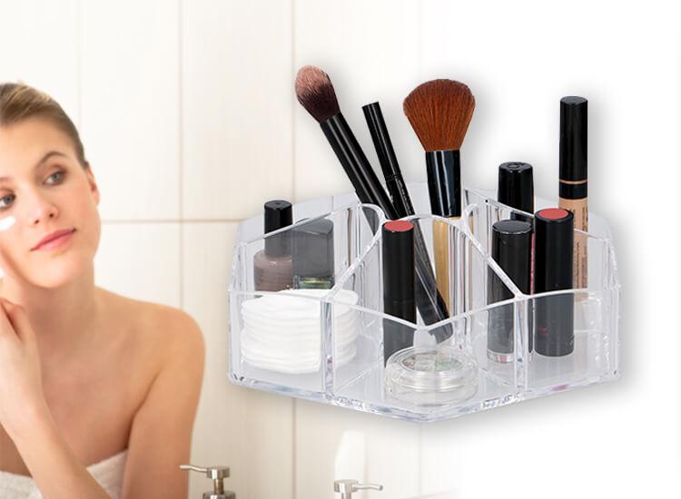 Transparante organizer voor je make-up - Mooi en compacte vorm met 8 vakken