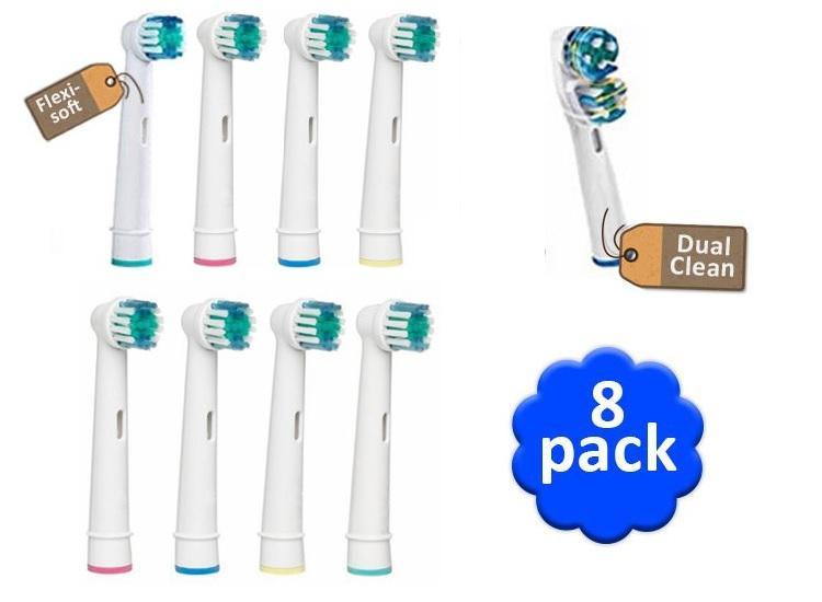 Opzetborstels 8 stuks geschikt voor oral-b-braun-philips tandenborstels-flexisoft