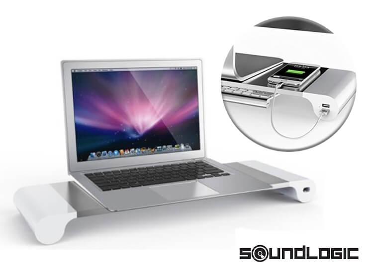 Soundlogic space bar - Monitorstandaard met 4 USB laadpunten