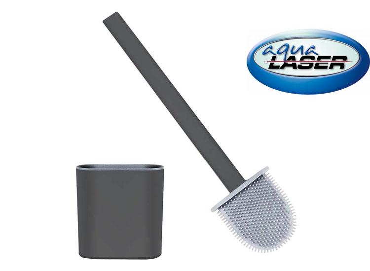 Aqua Laser Toiletborstel - Inclusief Houder & Bevestigingsmaterialen - Grijs/Zwart