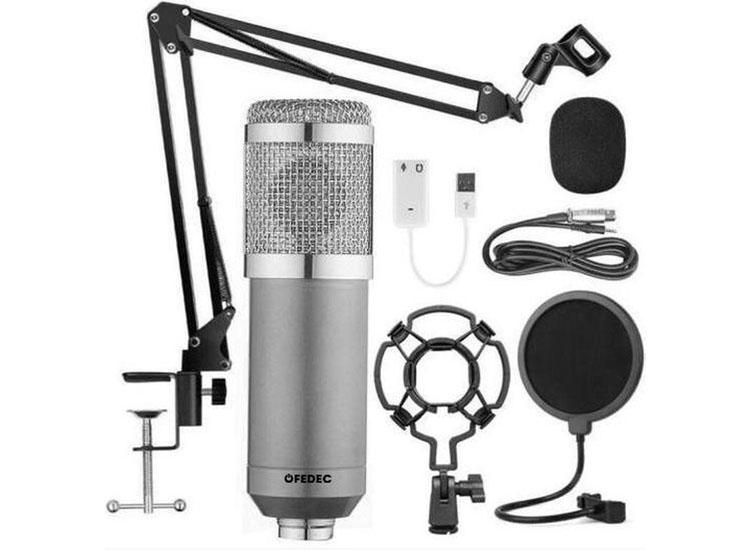 Fedec USB microfoon - Zilver - Inclusief statief, plofkap en popfilter