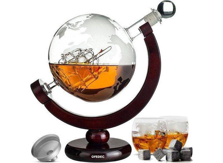 Fedec Whiskey Decanteerkaraf - Wereldbol - Luxe Whiskey Karaf Set - 0,8 L - Incl. 8 Whisky Stones &