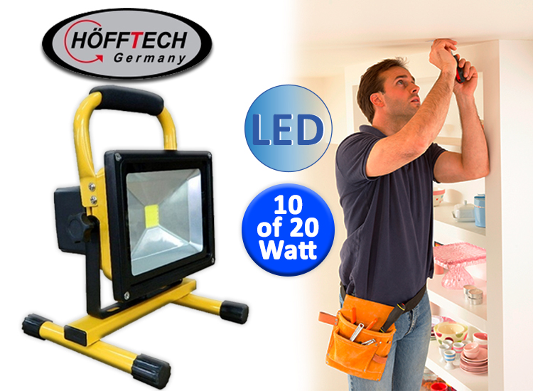 Hofftech oplaadbare LED-Bouwlamp (10W of 20W)