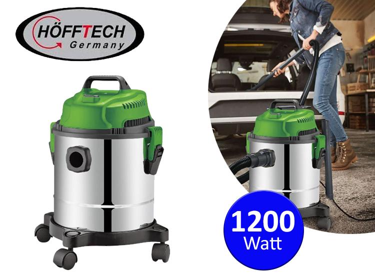 Höfftech krachtige RVS Stofzuiger -Nat en Droog Stofzuiger - 1200 Watt