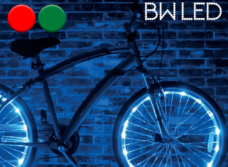 2 LED Lichtslangen Voor Het Fietswiel - Groen en Blauw