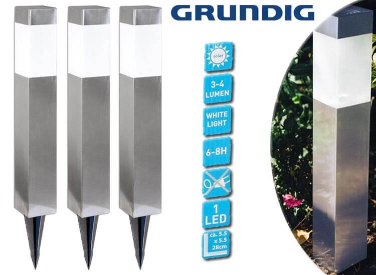 Grundig Solar LED-lampen set van 3 stuks