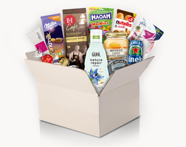 Boodschappenbox met o.a. Nutella, Milka, Lindt en Heineken