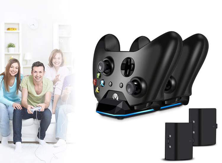 Xbox One Dubbel Controller Oplaadstation met 2 Accu's & Oplaadkabel Zwart Docking Station